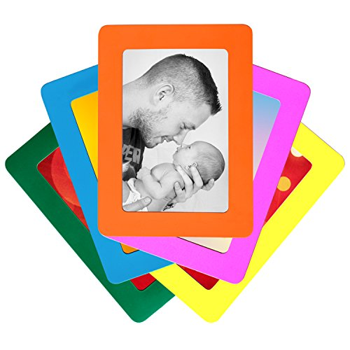 Set of 5 Colorful Magnetic Picture Frames by De Dazzle. Standard 4 x 6 Inch Postcard Size Magnetic Photo Frames for Refrigerator. Cherish Memories of Loved Ones. Perfect Gift for Family and Friends.