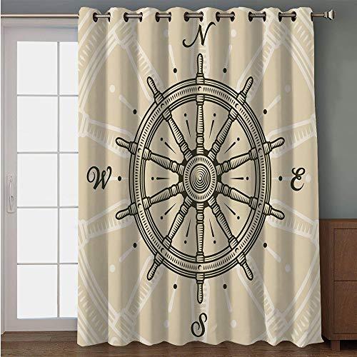 iPrint Blackout Patio Door Curtain,Ships Wheel Decor,Retro Ship