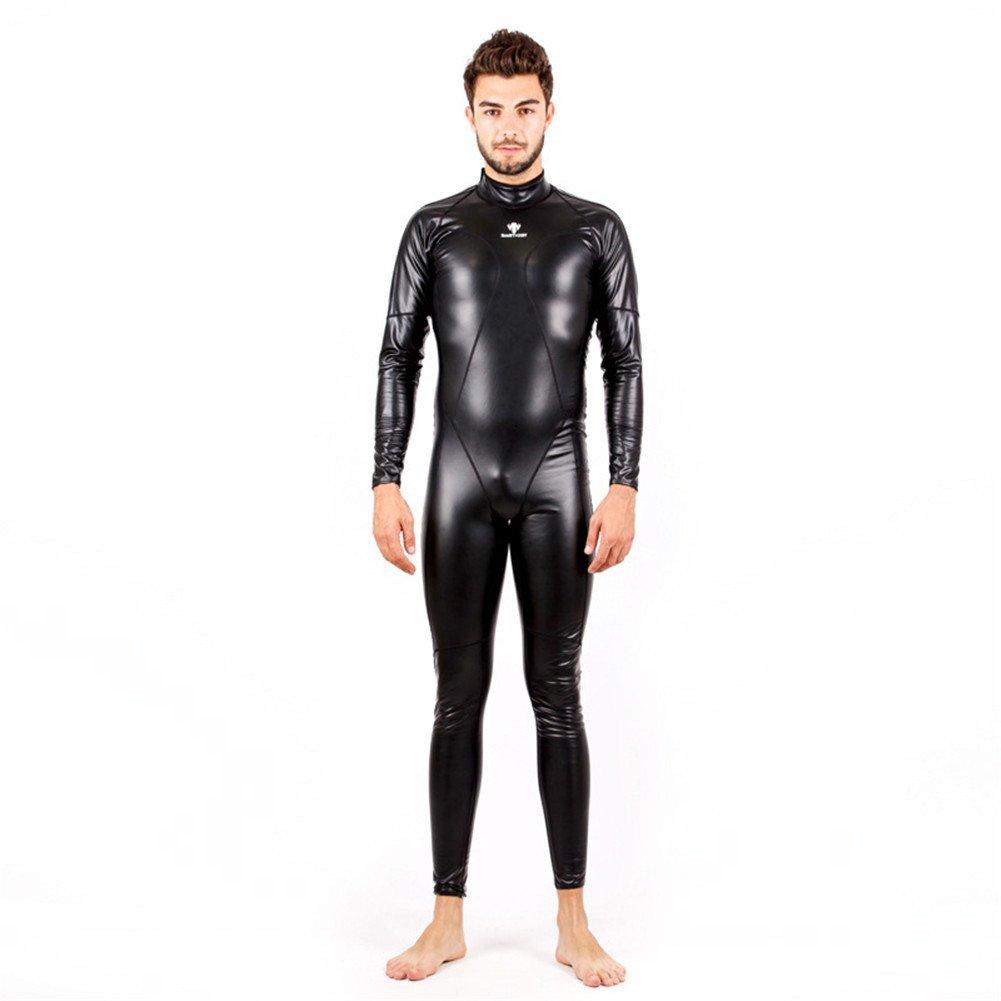 Fanceey Full Body PU Waterproof One Piece Men Long Sleeve Competitive Swimsuits
