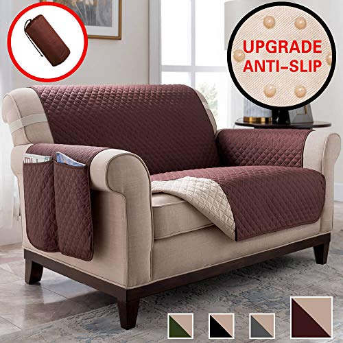 Vailge Anti-Slip Chair Covers, Waterproof Chair Protector with Back Non-Slip Dots,Machine Washable Chair Covers for Dogs, Children, Pets(Chair:Chocolate)