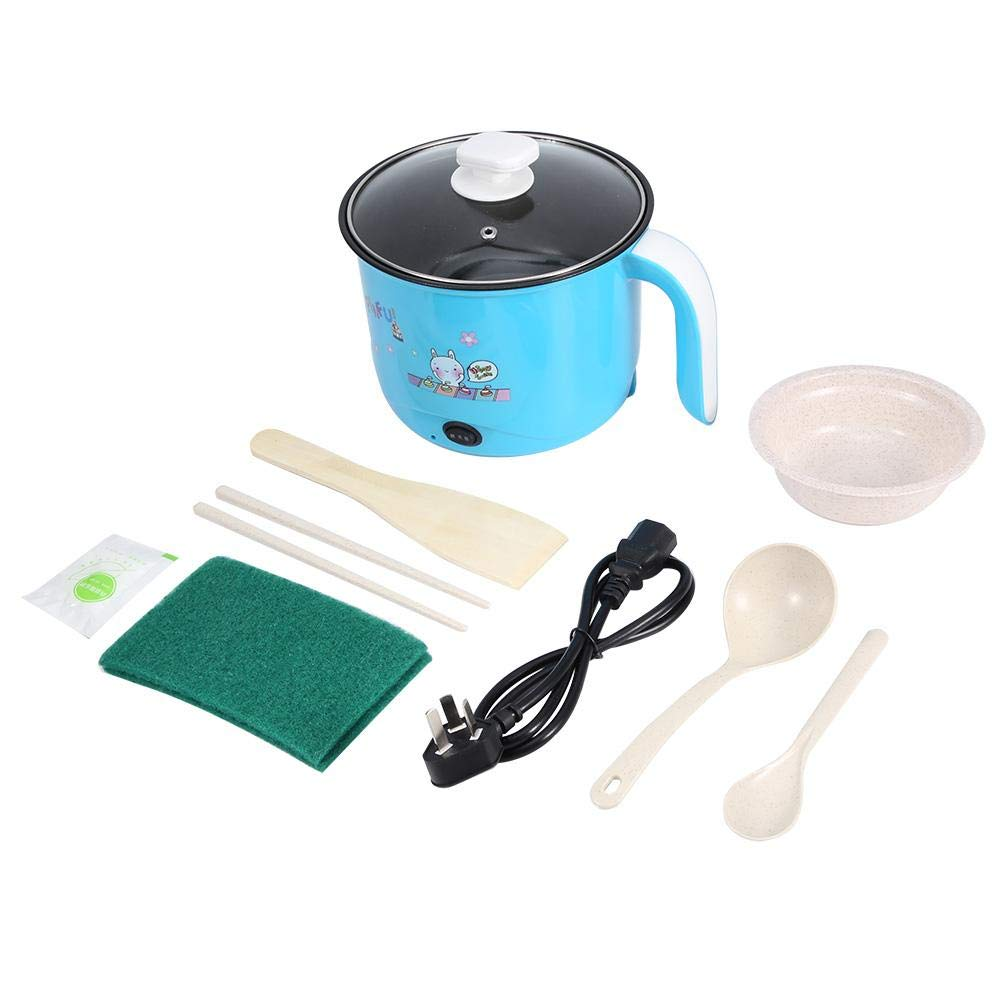 220V CN Plug 1.8V Mini Blue Electric Stainless Steel Rice Cooker for Dorm Students Travel Rice Cooker Small Removable Non-Stick Pot Cooking Soup Rice Stews Grains