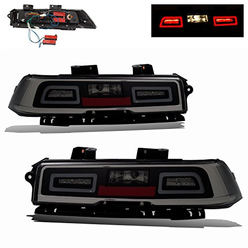 SPPC Smoke LED Tail Lights Assembly Set For Chevy Camaro - (Pair) Driver Left and Passenger Right Side (Camaro Tail Light Housing)