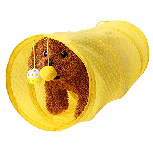 S&M TREADE-Pet Cat Tunnel Toys Outdoor Game Play Foldable Kitten Rabbit Toys With Bell Ball (Yellow) ()