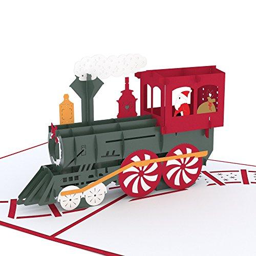 (Lovepop Santa Train Pop Up Card, 3D Card, Christmas Card, Holiday Card, Santa Card)