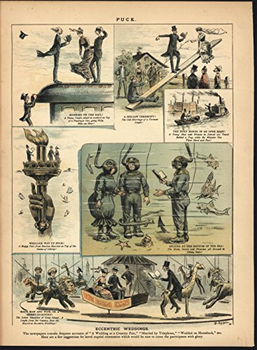 Eccentric Weddings Underwater Train Top 1887 antique color lithograph print (Train Underwater)