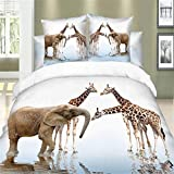 Zebratown 3d Printed Wolfs Animals 100%cotton Bedding Sets 4pcs Duvet Quilt Bed Linen Covers for Queen Bedclothes Comforters Bedsheet (Giraffes and elephants)