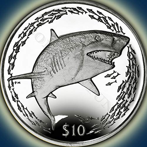 LEMON SHARK - Sterling Silver Proof Coin in Box with Certificate of Authenticity - 2016 British Virgin Islands $10 DOLLAR COIN