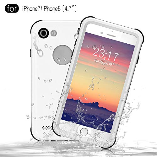 Redpepper Waterproof Case for iPhone 7/iPhone 8 [4.7 inch], IP68 Certified Full Sealed Underwater Protective Cover, Shockproof, Snowproof and Dirtproof for Outdoor Sports (White)