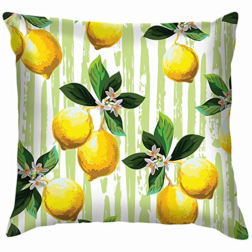 Citrus Palm Leves Hand Drawn Food and Drink Lemon Soft Cotton Linen Cushion Cover Pillowcases Throw Pillow Decor Pillow Case Home Decor 18X18 Inch]()
