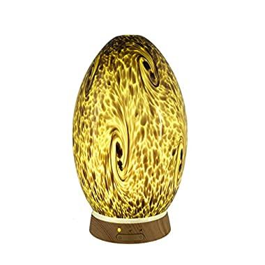GreenAir Serene Living Hand-Blown Amber Glass Dragon's Egg Ultrasonic Essential Oil Diffuser for Aromatherapy with Nightlight 3-Stage Dimmer