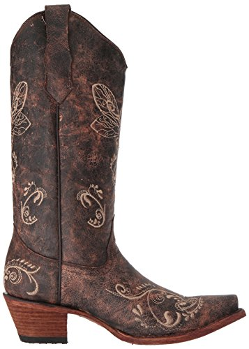 Embroidered G Toe Circle Snip Dragonfly Bone Distressed Brown Women's Boot wBdXP1q