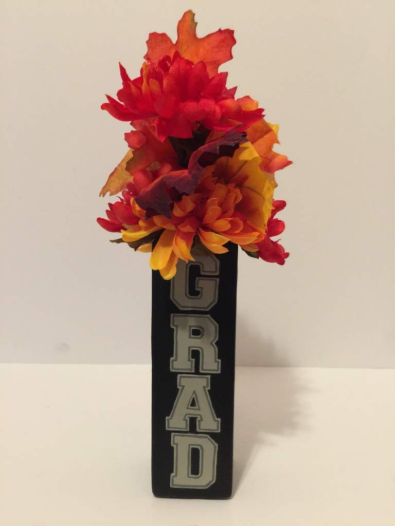 BACK TO SCHOOL FUN - RESIN BLACK & SLATE GRAY GRAD (GRADUATION) VASE - WITH FALL MIXED FLORAL AND LEAVES - HIGHSCHOOL GRADUATION - COLLEGE GRADUATION - TECHNICAL SCHOOL GRADUATION - ANY GRADUATION