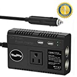 Tesla's 2-Socket Cigarette Lighter Power Adapter 120W DC Outlet Splitter, Car Power Inverter with AC Outlets and 4.8A Dual USB Ports ( 2 Fuse Included )