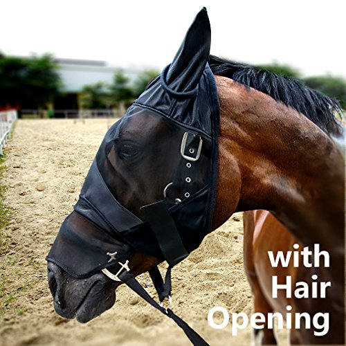 Cube Tech Horse Fly Mask with Ears Nose and Hair Opening- Good Vision Soft and Breathable, All Around Barn, Stable, Pasture, Trail Riding Fly and Sun Protection Fly Masks (Horse, Black)