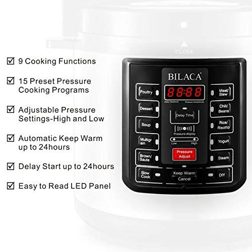 BILACA Pressure Cooker 6 Quart 9-in-1 Multi-Use Programmable Electric Pressure Cooker, Slow Cooker, Rice Cooker, Steamer, Yogurt Maker, Sauté and Warmer Includes Healthy Recipe Cookbook and Steam Rack