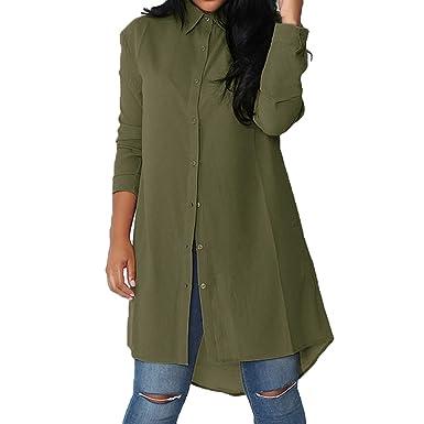 Chemise Longue pour Femme Mode Casual Loose Mousseline de Soie Tunique à Manches  Longue Mini Robe 708077b8dbe7