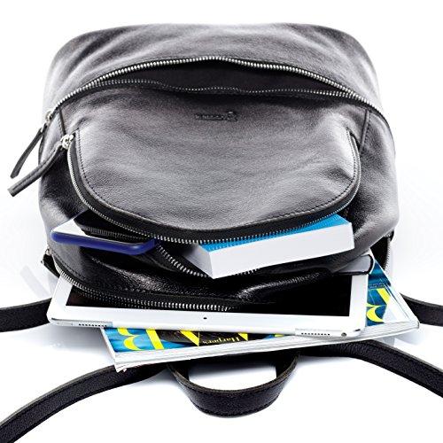 en homme dos cuir dos véritable grand backpack sac DINA BACCINI® à et en sac cuir femme noir à qxZfFE