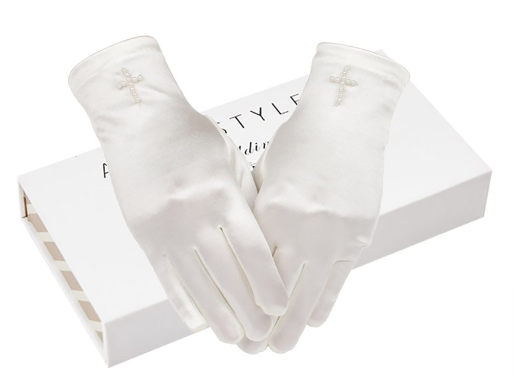 AISLE STYLE First Communion Girls Satin Gloves Tea Party Dress Up