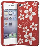 """Apple iPhone 4 & 4S Snap-On Protector Hard Case """"Aloha Flowers Red"""" Design"""