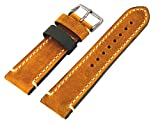 Rev Genuine Crazy Horse Dual Color Leather Watch Replacement Band - Golden Brown/Dark Green 18mm, 20mm, 22mm or 24mm