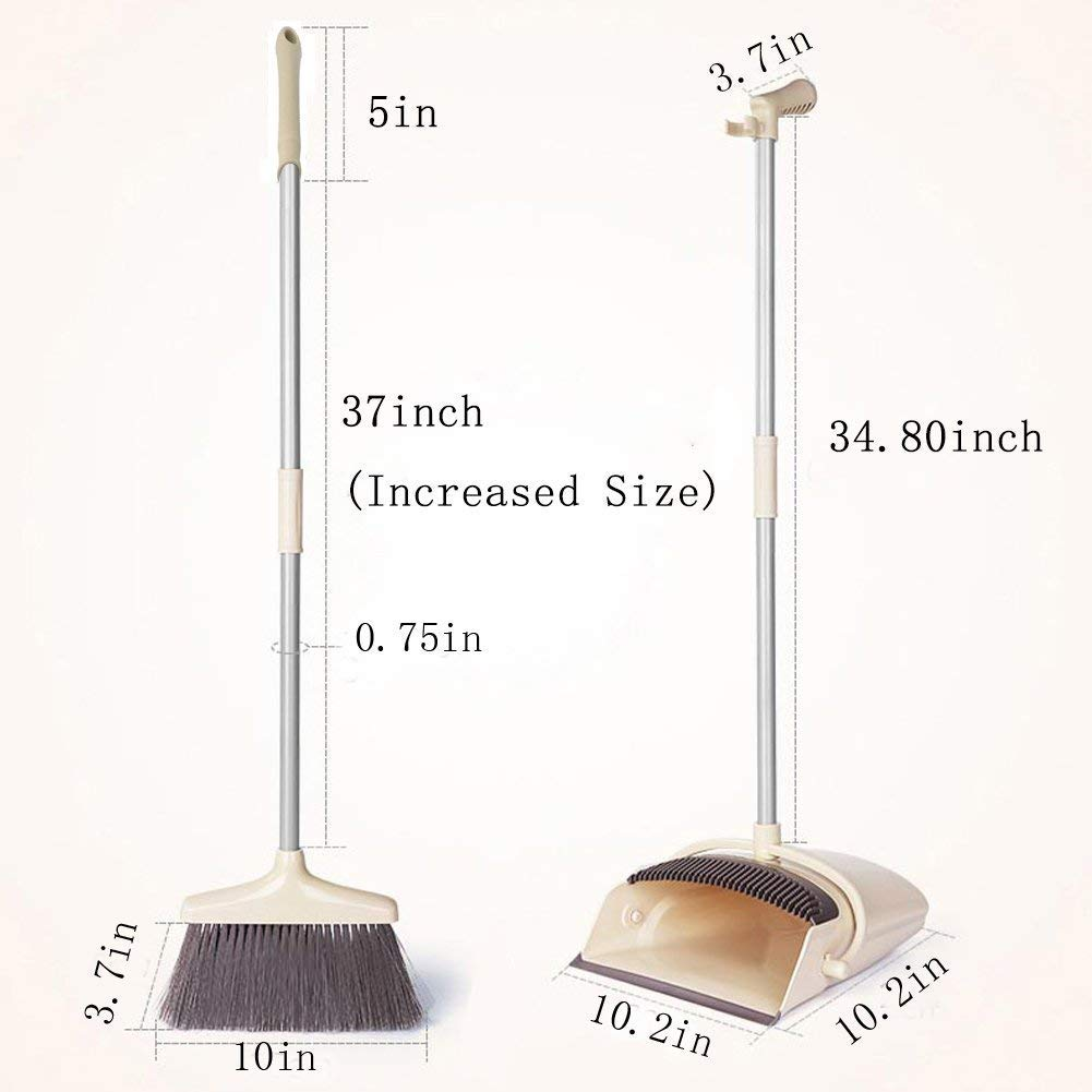 Long Handle Broom and Dustpan Set, 38'Self-Cleaning Broom Bristles Lobby Broom and Upright Dustpan with Teeth,Wisp and Dust Cleaner Extendable Broom and Windproof Dustpan Grips Combo Set for Sweeping WV LeisureMaster Broom001