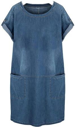 Fensajomon Womens Elegant Crew Short Sleeve Denim Pockets ...