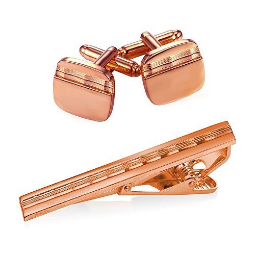 Men Rose Gold Plated Shirt Studs Square Wave Grain Cufflinks & Tie Bar Clip Set,3 Pcs (Grain Cuff)