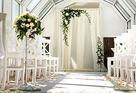 Baocicco Cotton Polyester Indoor White Wedding Ceremony Hall Decoration 7x5ft Background Curtain Arch With Flower White Chairs Beautiful Bouquet