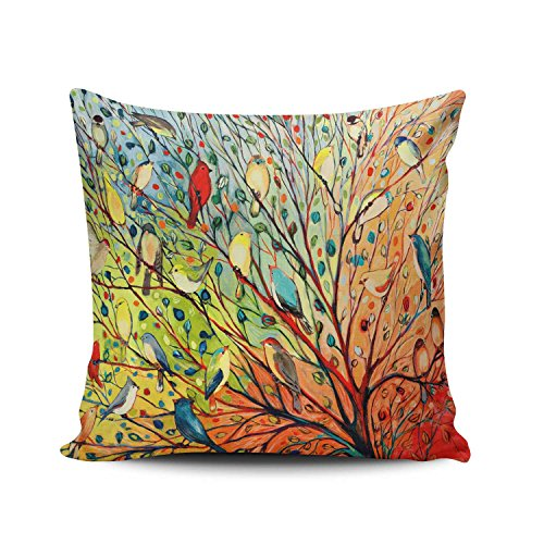 KEIBIKE Personalized Abstract Trees and Birds Square Decorative Pillowcases Print Zippered Throw Pillow Covers Cases 16x16 Inches One Sided