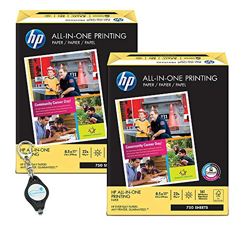 All-In-One Printing Paper with 96 Brightness, 22-lb. Letter, 750 ct. White - 2 Pack (1,500 sheets) bundle with a Lumintrail Keychain Light (Hp All In One Printing Paper 22 Lb)