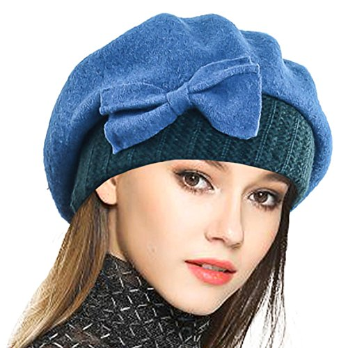 VECRY Lady French Beret 100% Wool Beret Floral Dress Beanie Winter Hat (Bow-Turquoise)