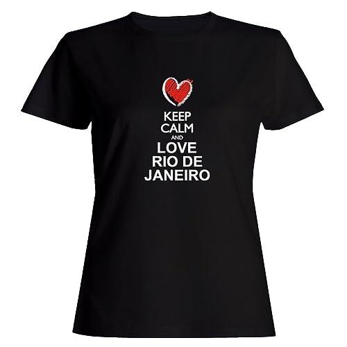 Idakoos Keep calm and love Rio De Janeiro chalk style Maglietta donna
