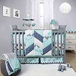 Mosaic 3-piece Boy's Crib Bedding Set, Combination Of Teal, Grey, Aqua And Marine Blue Are Perfect For A Contemporary Boy'S Nursery