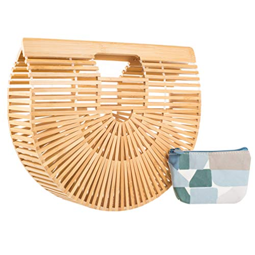 LibbyPet Bamboo Handbags for Women Handmade Bamboo Bag Summer Beach Tote bag (Sandal Wood Small)