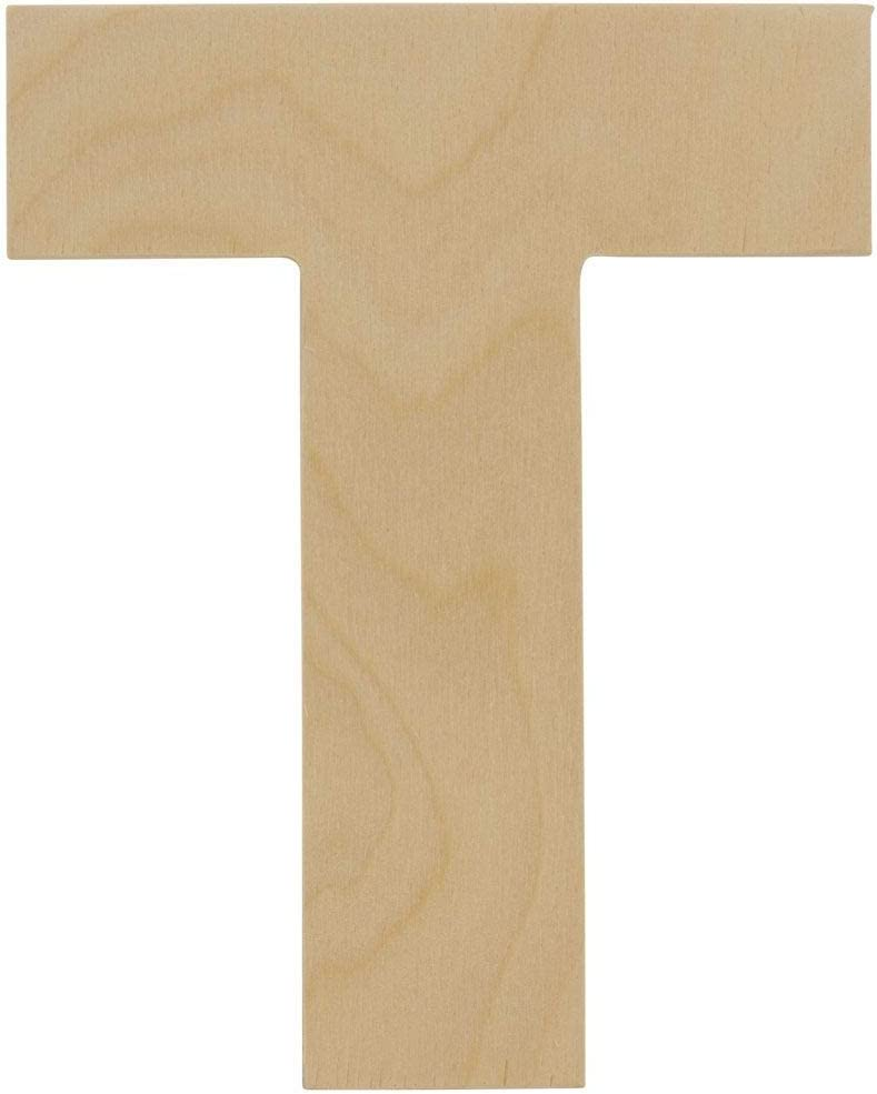 Wooden Letters - T - Unfinished 8 x 6-3/8 Inch Decorative Craft Monogram for Wedding Parties and Home Décor with Tool Free Adhesive Foam Squares for Hanging - by Woodpeckers