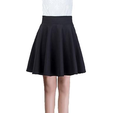 82d72ea3cb41 Xiongfeng® Damen Mädchen Kurz Faltenrock Skater Rock Glockenrock mit Hohe  Taille Schwarz,45,