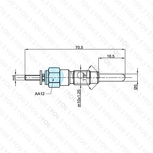 YOU.S Original 11065-37506 Gl/ühkerze L/änge 70,5 mm Spannung 10,5 V 4 St/ück