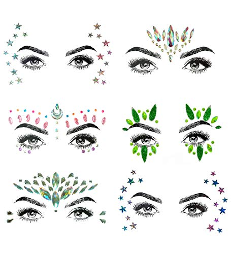 6 Sets Self-adhesive Face Gems Stickers Festival Glitter Jewels Rhinestone Tattoo Stickers Crystal Tears Gem DIY Body Art Makeup (BCollection 09) -
