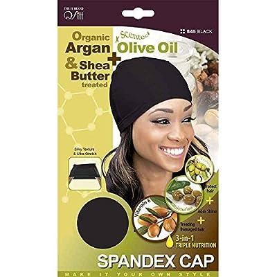 (PACK OF 6) Qfitt – Premium Spandex Cap ORGANIC ARGAN + OLIVE OIL & SHEA BUTTER #845 BLACK