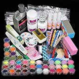 QINF 42PCS Acrylic Powder Brush Glitter Clipper File Nail Set