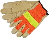MCR Safety 34111S Luminator Premium Grain Pigskin Cotton Hemmed Men's Gloves with Highly Visible Mesh Back, Cream/Orange, Small, 1-Pair