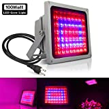 Cheap 100W Full Spectrum LED Grow Light Indoor, Derlights Plant Led Flood lights With Blue 460nm and Red 630nm, Growing Lamp for Greenhouse Seeds and Flowers (100W)