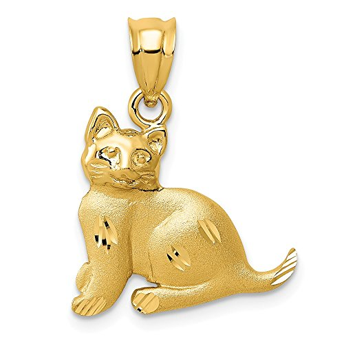 14K Yellow Gold Cat Charm (Cat Charm Gold Yellow)