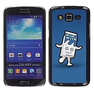 LECELL--Funda protectora / Cubierta / Piel For Samsung Galaxy Grand 2 SM-G7102 SM-G7105 -- Carton Character Blue Happy Kids --