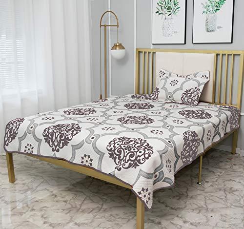 "CHHKON Luxury Bedspread Sets Microfiber Lightweight Coverlet Bedspread for All Season (Gray, Twin/68""x90"")"