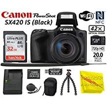 [Patrocinado] Canon PowerShot SX420 is Black Digital Camera w/42x Optical Zoom - Wi-Fi & NFC Enabled w/Tripod, Sandisk 32GB Memory Card, Memory Card Reader, Camera Carrying Case + Shocked Cleaning Cloth