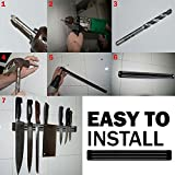 Wall Mount Magnetic Knife Storage Holder Rack Strip Utensil Kitchen Tool Black