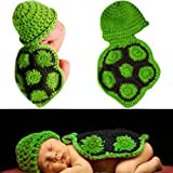 SUKRAGRAHA Cutest Infant Newborn Baby Girl Boy Turtle Knit Crochet Clothes Beanie Hat Outfit Photo Props