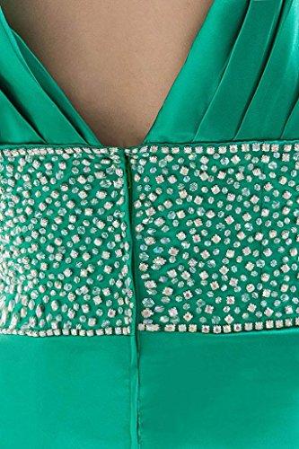 Noche Bride Vestido Perlas George Split Cintura Cuello La Sexy Delantero Verde Para Con En De V Rqq6gapx
