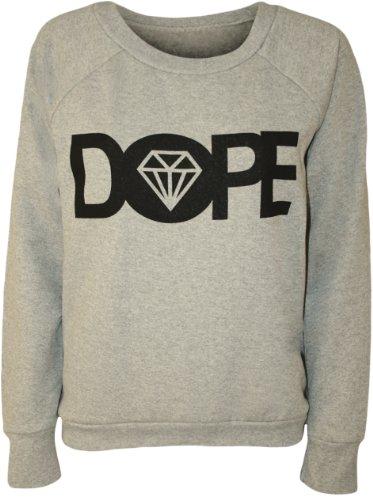 Papermoon - Pull simple avec le mot 'DOPE' et l'image du diamant - Pulls - Femmes - Gris - 40-42
